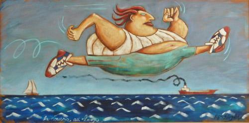 La course au large, huile, toile, site, galerie, art contemporain, philippe messager