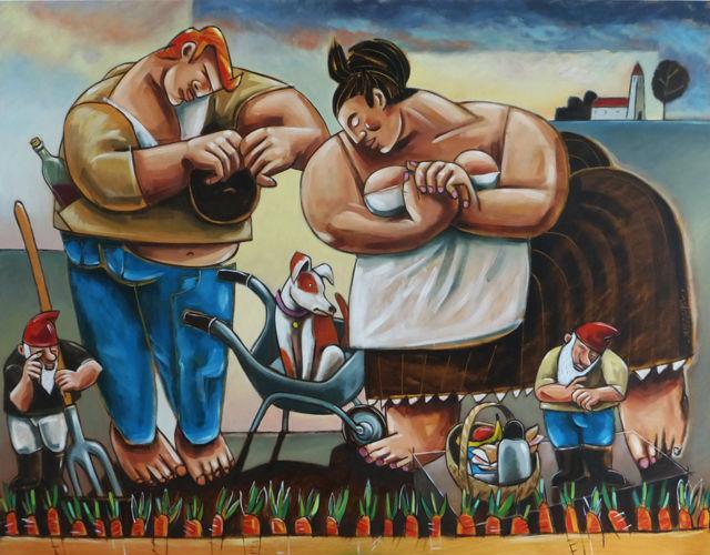 L`Angélus de Millet de Messager de Dali. huile sur toile 114/146 cm