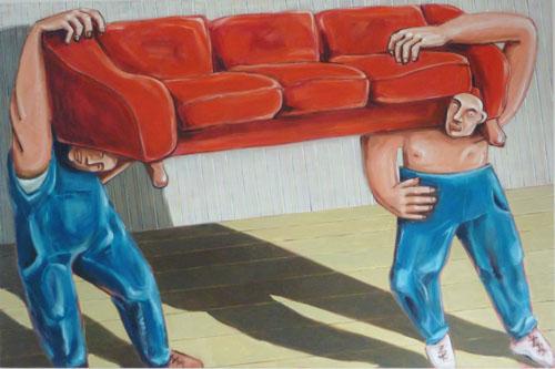 Le canape, huile, toile, galerie, site, art contemporain, philippe messager