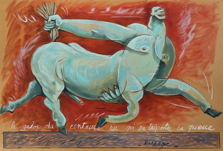 le galop du centaure nu qui se tripote la queue