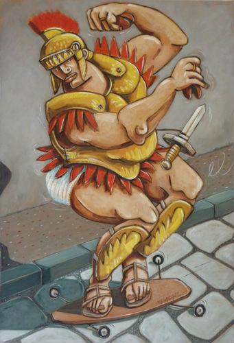 Militaire skatborder jouant des castagnettes sur le pavé romain