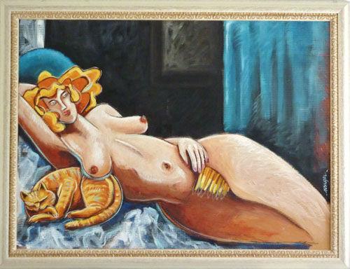 Mon odalisque absente, huile, toile, site, galerie, art contemporain, philippe messager