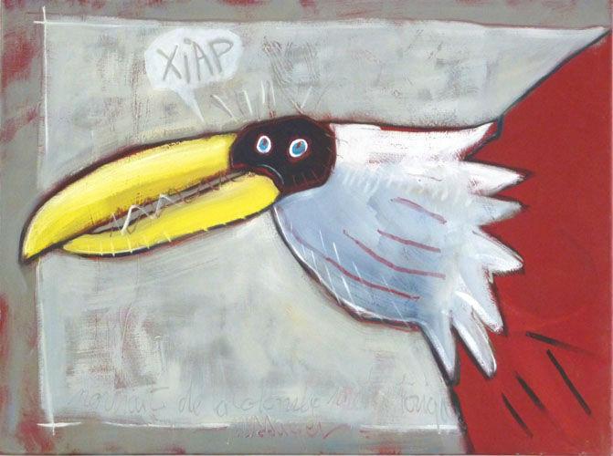 Portrait de la colombe préhistorique, huile sur toile, 60x80 cm