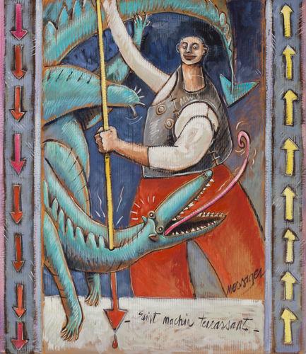 Saint Machin terrassant / huile sur carton / 129 x 111 cm