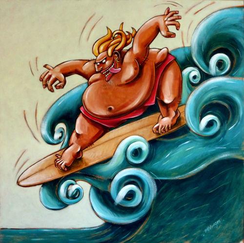 Le tonton surfeur, huile sur toile, 120/120 cm
